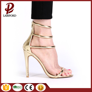 High heel with back zip closed sandals