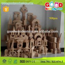 Bloque de madera del jardín de la infancia del color grande de la naturaleza 508pcs