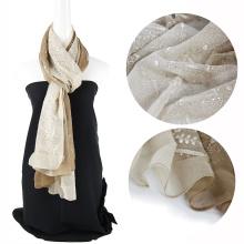 Gradient Rampa color emboidery bufanda de seda de mujer con lentejuelas