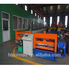 Hebei xn 914 color metal acero azulejo frío fabricación de hoja de tejado trapezoidal rodillo que forma la máquina