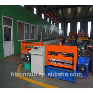 Hebei xn 914 cor de metal telha de aço tomada de folha de telhado trapezoidal frio rolo dá forma à máquina