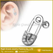 Crystal Jeweled Pin de seguridad Acero quirúrgico Ear Tragus Barbell