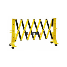 Barrera de expansión de seguridad vial de plástico portátil negro y amarillo