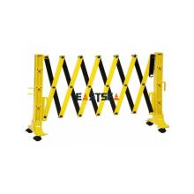 Barrière expansible de sécurité routière en plastique portable noir et jaune