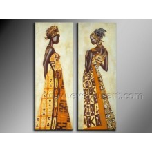 Handmade Abstract African Women Oil Painting on Canvas