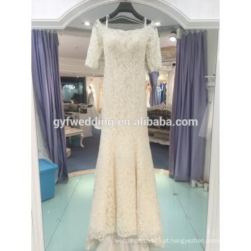 2017 vestido de noiva de cauda de peixe novo foi fino 3/4 luva de renda lantejoulas de lantejoulas de luxo high-end luxo vestido de casamento LJ-20031