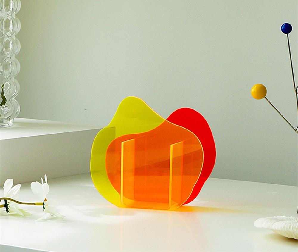 Acrylic Mordern Vase Orange