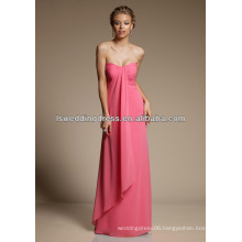 HB2108 Deep sweetheart neck strapless sleeveless asymmetrical hem A-line long chiffon full length bridesmaid dresses coral color