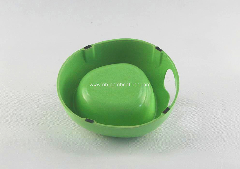 Bamboo fiber dog bowl with hand hold hole
