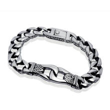 Men Cuban Bracelets Stainless Jewelry Punk & Rock Style Silver Black