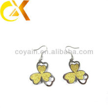 Trendy stainless steel gold flower Clover dangle earring