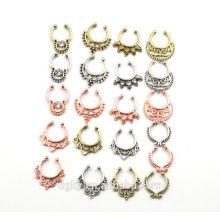 Hot 21pcs Fake septum Nose Ring Hoop Ring Nose Body Piercing jewelry