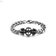 Bracelet de crâne de luxe, fournisseur de bracelet en acier inoxydable, bracelet fait à la main