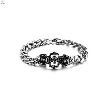 Pulseira de caveira de luxo, fornecedor pulseira de aço inoxidável, pulseira artesanal
