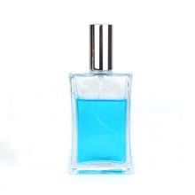 Custom Empty 100ml clear square refillable perfume oil glass spray bottle with sprayer