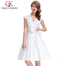 Grace Karin Cap Sleeve Cheap Vintage Retro White 1950s Style Dresses CL6087-2