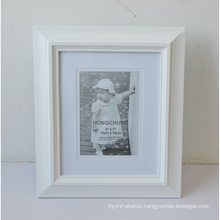 White MDF Photo Frame with Mat for Home Decoration