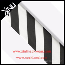 Top Quality Necktie Silk Stripe Fabric Black and White