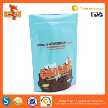 Alimentos de grado stand up embalaje bolsas de plástico personalizadas cookie con cierre zip