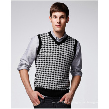 ODM Jacquard V Neck Vest Man Sweater