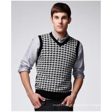 ODM Jacquard V Pescoço Vest Man Sweater