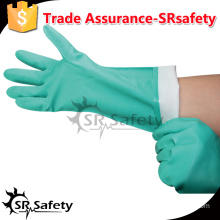 SRSAFETY industrial anti oil and anti chemical gloves/nitrile gloves washable/Nitrile Industrial Gloves/green anti oil gloves