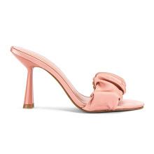 Wholesale Shoe Wrinkled Pink Soft Sheepskin Women's Slide Sandals China High-heeled Square Open Toe Natural Factory 10 Cm