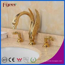 Fyeer New Attractive Dual Handle Golden Waterfall Swan Basin Faucet