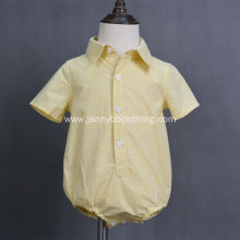 kids summer plaid cotton short sleeve soft boys rompers