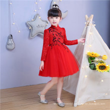 High Collar Embroidery Lace Floor Girl Dress