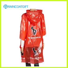 Cape de poncho de pluie PE rouge adulte pour la promotion (RPE-181)
