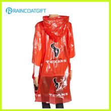 Cabo vermelho adulto do poncho da chuva do PE para a promoção (RPE-181)