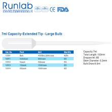 Pipetas de transferencia de bulbo de gran capacidad de 7 ml con punta extendida