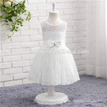 Vestido de fiesta de una sola pieza sin mangas del bebé del color blanco de la venta caliente para el desgaste occidental del partido