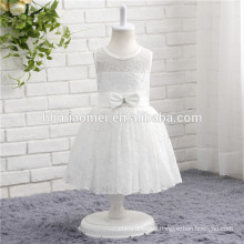 Hot sell white color laced sleeveless one piece baby girl party dress for western party wear