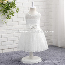 Venda quente cor branca atado sem mangas one piece baby girl vestido de festa para western party wear