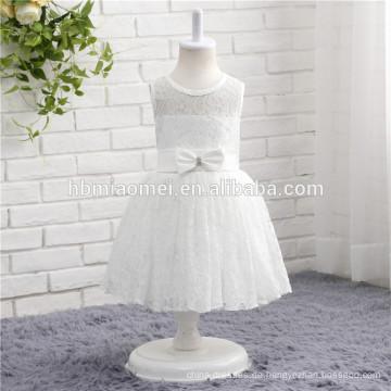 Heiße verkaufende weiße Farbe schnürte ärmelloses einteiliges Babymädchen-Partykleid für westliche Parteiabnutzung