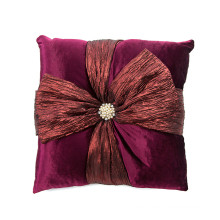 New design velvet Knot bow tie pearl decorative sofa cushion for wholesale