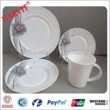 Nuevos artículos de cristal de opalina de los fabricantes de vajilla / platos de cena redonda de ópalo, V-forma de taza / microondas seguro placa de vidrio de ópalo