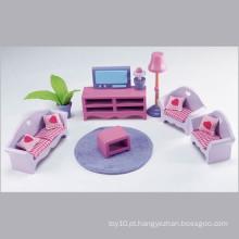 Casa de boneca de madeira rosa modelo de móveis em miniatura