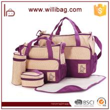 Fashion 5pcs Set Baby Diaper Changing Mummy Bag