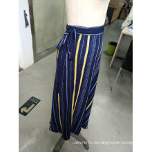 Spring Stripe Contraste Color Bowknot Elegant Ladies Falda larga