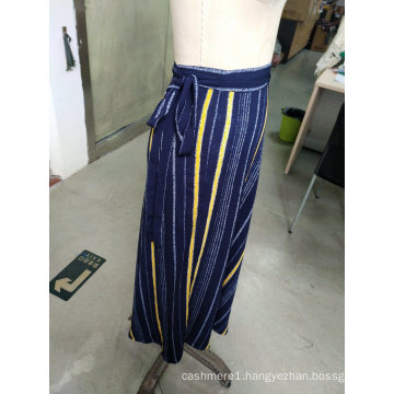 Spring Stripe Contrast Color Bowknot Elegant Ladies Long Skirt