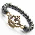 Hematite 8MM Round Beads Stretch Gemstone Bracelet with Diamante alloy imperial crown Piece