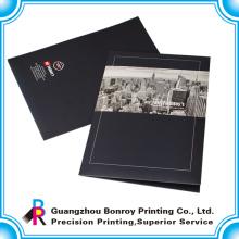 Carpeta de archivos de papel hecha a mano de la impresión personalizada del logotipo de la venta caliente con dos bolsillos