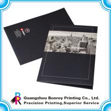 Pasta de arquivo de papel handmade da impressão feita sob encomenda quente do logotipo da venda com dois bolsos