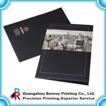 Hot vente logo impression personnalisée fichier papier à la main avec deux poches