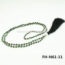 Collier en cristal noir avec collier de perles de cristal