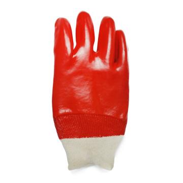 Guantes de agarre de muñeca tejidos recubiertos de PVC rojo