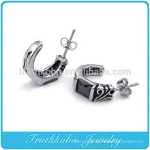 TKB-E0033 preto de cristal articulada aro de aço inoxidável 316L brincos dos homens do parafuso prisioneiro